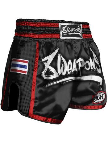 8 Weapons 8 Wapens Muay Thai Short Super Mesh Black Red