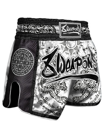 8 Weapons 8 Weapons Muay Thai Short Carbon Sak Yant Tigers White