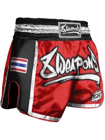 8 Weapons 8 Weapons Muay Thai Short Super Mesh Rot Schwarz
