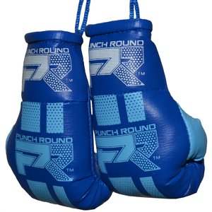Punch Round™  Punch Round Mini Carhanger Boxing Gloves Blue White