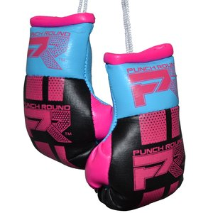 Punch Round™  Punch Round Mini Carhanger Boxing Gloves Black Pink Blue