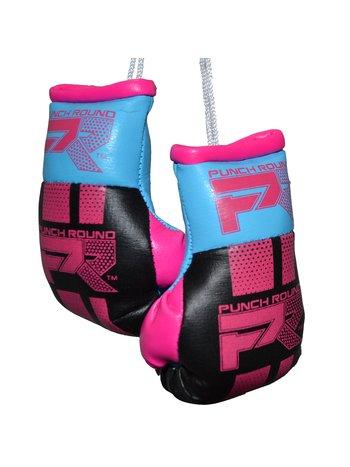 PunchR™  Punch Round Mini Carhanger Boxing Gloves Black Pink Blue