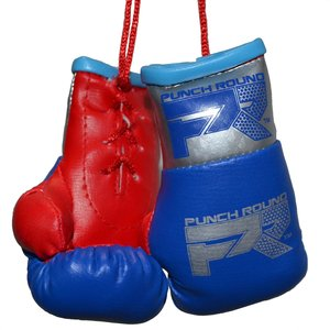 Punch Round™  Punch Round Mini Carhanger Boxing Gloves Blue Silver Red