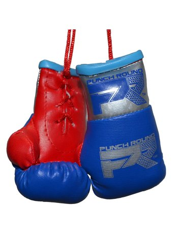 PunchR™  Punch Round Mini Carhanger Boxing Gloves Blue Silver Red