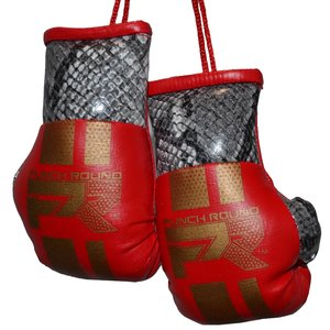 Punch Round™  Punch Round Mini Carhanger Boxing Gloves Snake Red Gold