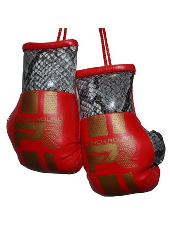 PunchR™  Punch Round Mini Carhanger Boxing Gloves Snake Red Gold