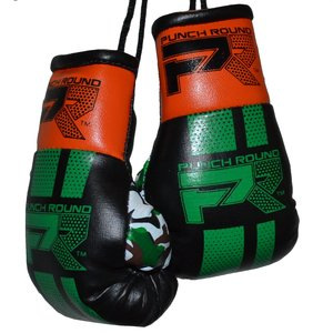 Punch Round™  Punch Round Mini Carhanger Boxing Gloves Black Green Orange