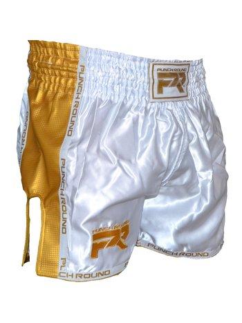 PunchR™  Punch Round™ Muay Thai Shorts Carbon White Gold