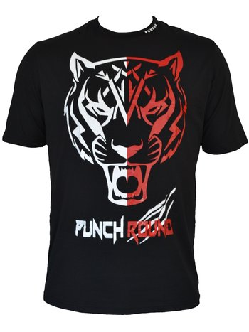 PunchR™  Punch Round Tiger Razor Shirt Kids Zwart Wit Rood