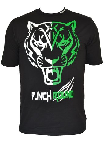 PunchR™  Punch Round Tiger Razor Shirt Black White Green