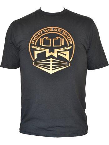 Fightwear Shop Fightwear Shop Ring Logo T Shirt Zwart Goud