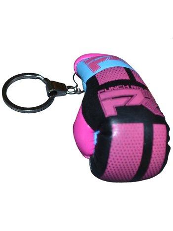 PunchR™  Punch Round Boxing Glove Keyring Pink Black Bleu