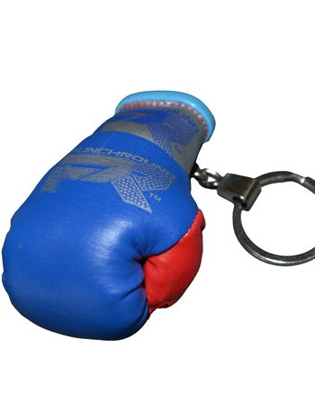 PunchR™  Punch Round Boxing Glove Keyring Blue Red Silver