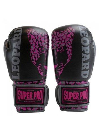 Super Pro Super Pro Leopard Kids Boxing Gloves Black Pink