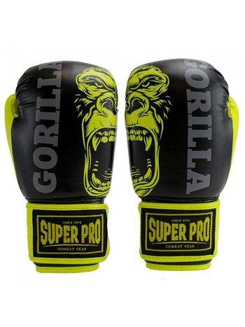 Super Pro Super Pro Leopard Kids Boxing Gloves Black Yellow