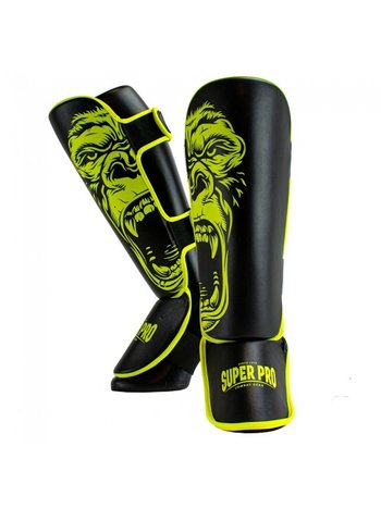 Super Pro Super Pro Leopard Kids Shinguards Black Yellow