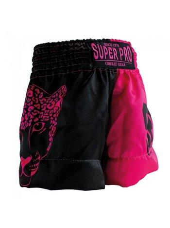 Super Pro Super Pro Leopard Kids Kickboks Broekjes Zwart Roze