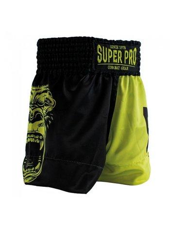 Super Pro Super Pro Leopard Kids Kickboxing Shorts Black Yellow