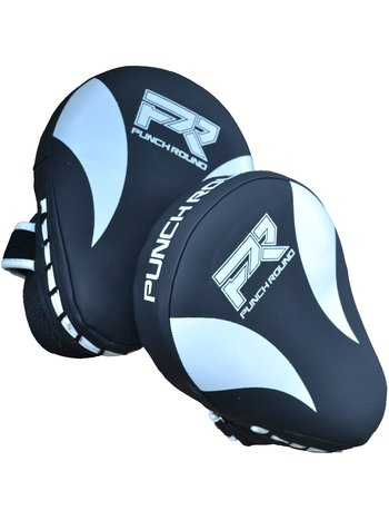 PunchR™  Punch Round PRO Hand Pads Kickboxing Pads Slam Black White