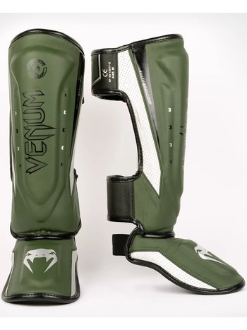 Venum Venum Elite Evo Kickboxing Shinguards Khaki Silver
