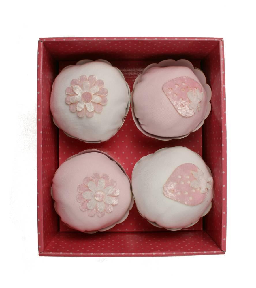 4 -er Set Body cupcake kurzarm rosa, Geschenkidee zur Geburt, Taufe oder Babyshower