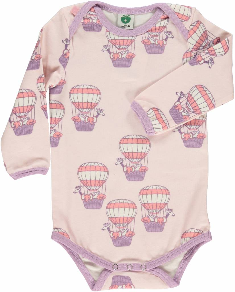 Småfolk - bunte skandinavische Mode rosa Body Heißluftballon von Smafolk