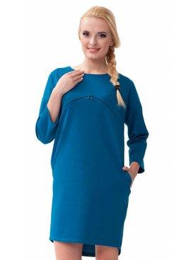 mamaija  blaues Umstandskleid  mit Stillöffnung