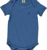 Småfolk - bunte skandinavische Mode blauer kurzarm Body uni BIO (GOTS) von Smafolk