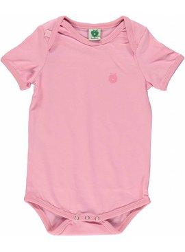 Småfolk - bunte skandinavische Mode rosa kurzarm Body uni BIO