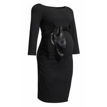 Umstandskleid in schwarz mit Satinschleife