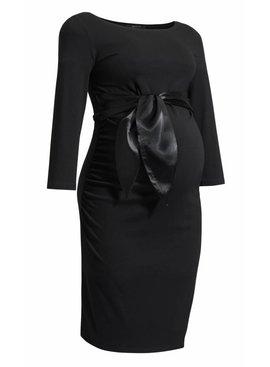 9fashion Umstandskleid in schwarz mit Satinschleife