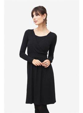 Milker Nursing schwarzes Stillkleid Umstandskleid aus Bambusfaser langarm