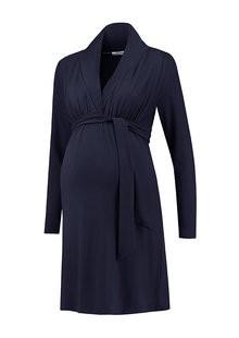 Love2Wait dunkelblaues , festliches Umstandskleid mit Stillfunktion BIO Tencel® von Love2Wait
