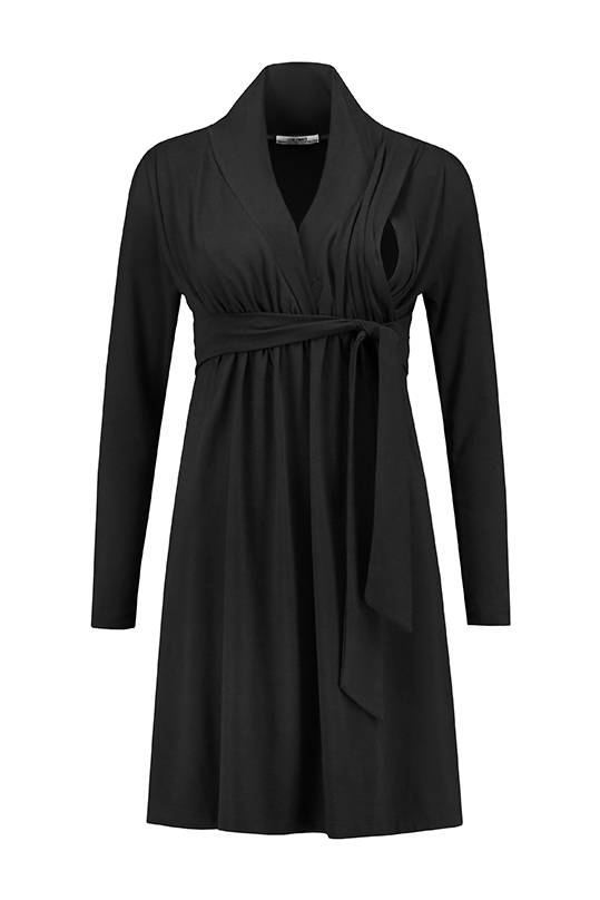 schwarzes, festliches Umstandskleid mit Stillfunktion BIO Tencel® von Love2Wait