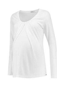 Love2Wait weißes langarm Basic  Umstandsshirt mit Stillfunktion BIO