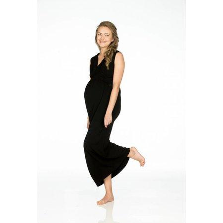 Love2Wait schwarzes Maxi Umstandskleid aus Tencel® von Love2Wait