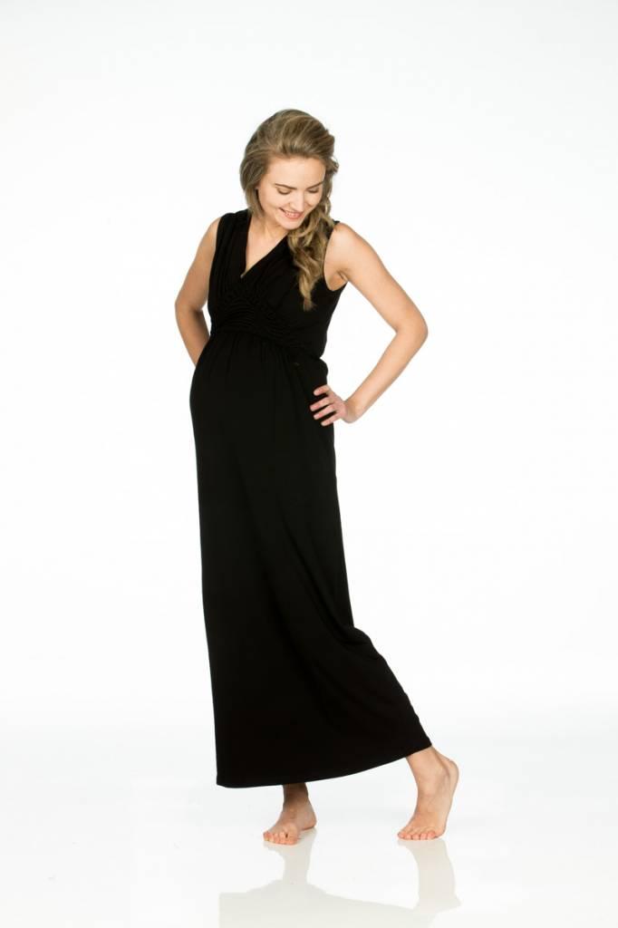 Love2Wait schwarzes Maxi Umstandskleid aus GOTS zertifizierten Tencel® von Love2Wait