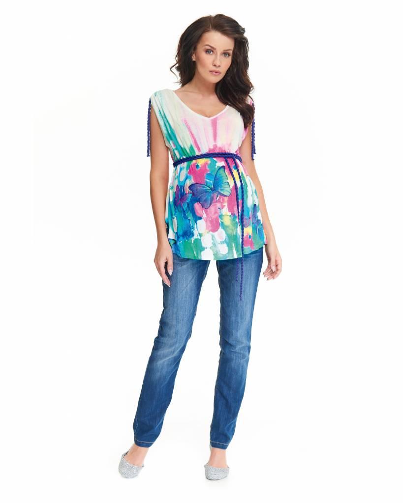 9fashion schickes Umstandsshirt mit tollem Farbverlauf und Schmetterling in Pastell von 9fashion