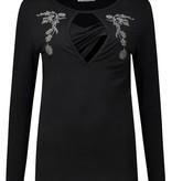 Love2Wait schwarzes Umstandsshirt Stillshirt mit Stickerei Tencel® von Love2Wait