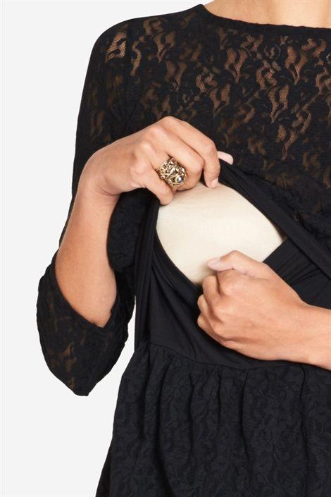 Milker Nursing schwarzes Umstandskleid Stillkleid mit Spitze aus Bambusfaser von Milker