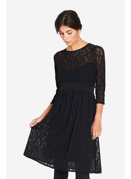 schwarzes Umstandskleid Stillkleid mit Spitze aus Bambusfaser