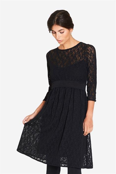 schwarzes Umstandskleid Stillkleid mit Spitze aus Bambusfaser von Milker