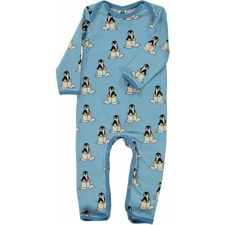 Småfolk - bunte skandinavische Mode süßer Spieler/Overall mit Pinguine in hellblau von Smafolk