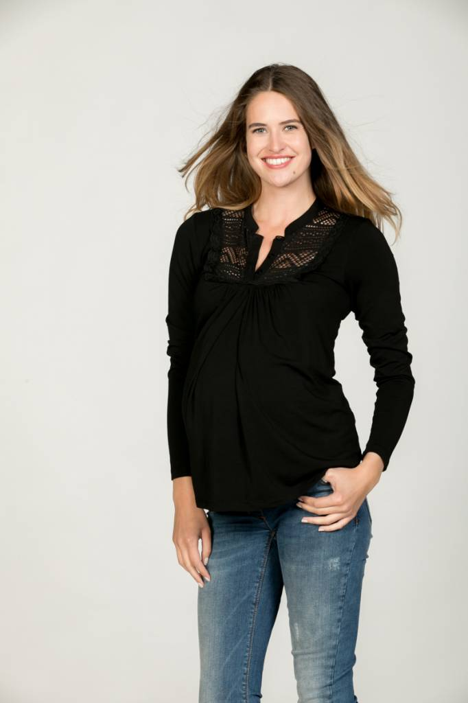 Love2Wait schwarzes, festliches Umstandsshirt mit Stillfunktion mit BIO Tencel® von Love2Wait