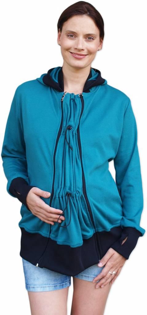 praktische, türkisfarbene Sweatjacke (Umstandsjacke, Tragejacke) aus Biobaumwolle von Jozanek