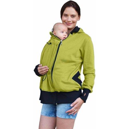 Jozanek praktische, grün-gelbeSweatjacke (Umstandsjacke, Tragejacke) aus Biobaumwolle von Jozanek
