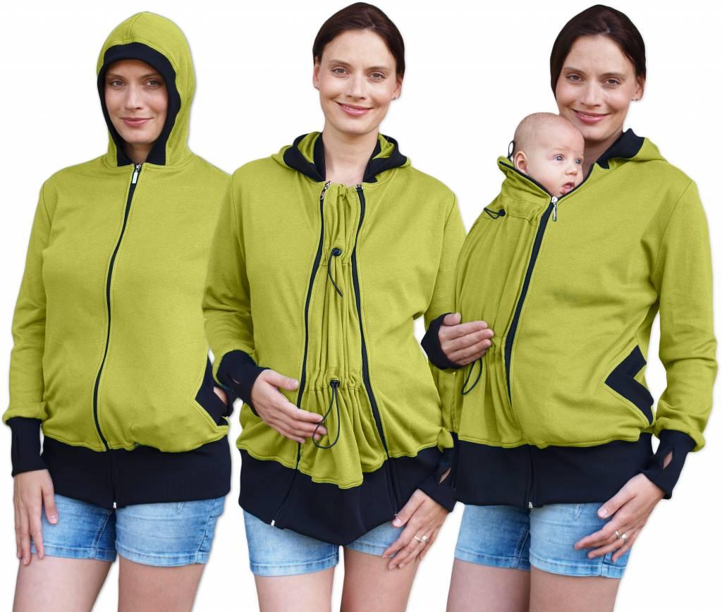praktische, grün-gelbeSweatjacke (Umstandsjacke, Tragejacke) aus Biobaumwolle von Jozanek