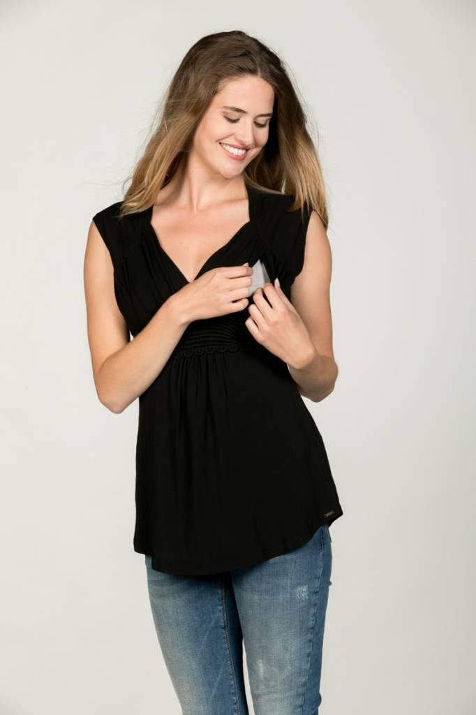 schwarzes, festliches Umstandsshirt mit Stillfunktion mit Spitze BIO Tencel® von Love2Wait