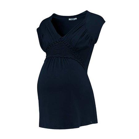 Love2Wait dunkelblaues, festliches Umstandsshirt mit Stillfunktion mit Spitze Tencel® von Love2Wait
