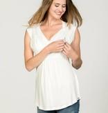 weißes, festliches Umstandsshirt mit Stillfunktion mit Spitze BIO Tencel® von Love2Wait